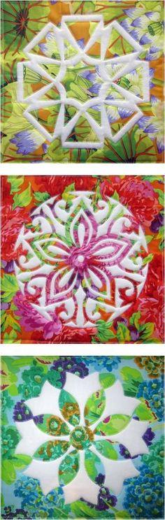 Applique magic blocks with Kaffe Fassett Fabrics seen at Sew Creative Cottage (Jenny Haskins Designs)