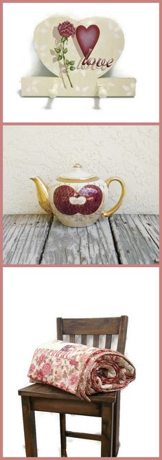 Love Language  These wonderful items can be found here: Hand Painted Heart Peg Rack: https://www.etsy.com/listing/37713700/handpainted-heart-peg-rack-rose-heart  Vintage Teapot: https://www.etsy.com/listing/218999618/vintage-iridescent-porcelain-teapot  Victorian Patchwork Quilt: https://www.etsy.com/listing/191234586/patchwork-quilt-victorian-card-trick