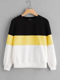 Shop Cut And Sew Sweatshirt online. SheIn offers Cut And Sew Sweatshirt & more t - Sweat Shirt - Ideas of Sweat Shirt - Shop Cut And Sew Sweatshirt online. SheIn offers Cut And Sew Sweatshirt & more to fit your fashionable needs. Printed Sweatshirts, Hooded Sweatshirts, Cute Sweatshirts, Teen Fashion, Fashion Outfits, Fashion Black, Fashion Styles, Fashion Fashion, Fashion Online