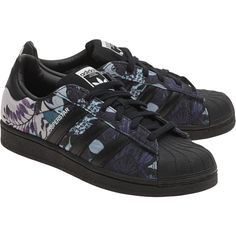 ADIDAS ORIGINALS Superstar Black Core // Patterned sneakers ($95) ❤ liked on Polyvore featuring shoes, sneakers, black leather shoes, floral pattern shoes, adidas originals shoes, flower print shoes and floral sneakers