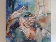 Wilde eenden, acryl - Diana Mol