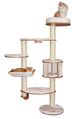 Kerbl Dolomit 4 Tier White Cat Tree with Sisal Scratching Post Tower Hammock Cat Activity Centre, Spotted Cat, Cat Hammock, Cat Cave, Natural Instinct, Cat Pillow, Scratching Post, Sleepy Cat, Cat Sleeping