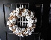 Cotton Boll and Burr Wreath or Center Piece