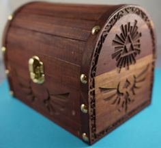 Zelda - Wooden Hyrule Treasure Chest. Plays Sound When Opened