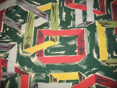 VTG BOLD MCM ATOMIC GEOMETRIC BARKCLOTH FABRIC DRAPE PANEL 47X109 Red Green Gray Green And Grey, Red Green, Gray, Draped Fabric, Fabrics, Painting, Vintage, Tejidos, Painting Art