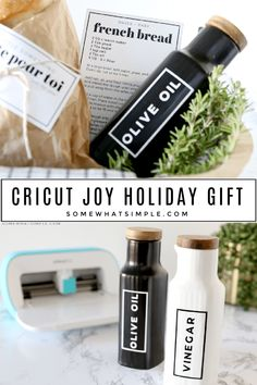 #AD If you're thinking about asking Santa for a cutting machine this year, or if you're looking for the perfect gift for a friend or family member, I 100% recommend getting the #OfficialCricut Joy! I wrote an entire post about everything I love most and why you should definitely add this machine to your Christmas list! (Also, can we talk about these darling Olive Oil + Vinegar Bottles? Who knew a vinyl label could make something so cute?!) #cricutmade #cricutcreated Holiday Gift Baskets, Holiday Gifts, Simple Gifts, Easy Gifts, Christmas Morning, Christmas Holidays, Craft Cupboard, Olive Oil And Vinegar, Neighbor Gifts