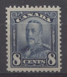The 8c bright indigo Scroll Issue stamp of 1928. This stamp was required to pay the foreign letter rate of 8c to countries other than the UK.
