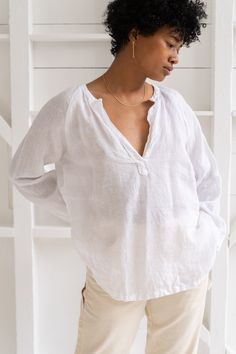 CP Shades   LIVIA TOP IN WHITE LINEN – RELIQUARY The White Album, Sustainable Fabrics, Bell Sleeve Top, Tunic Tops, Shades, V Neck, Size 2, Lady, Tees