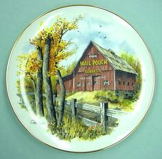 """Limited Edition Plate Art by Ray Day """"Mail Pouch Barn"""" from Blue River Mill MIB With Certificate by LikeNewShop on Etsy Ray Day, Plate Art, Decorative Plates, Pouch, Barns, Certificate, Porcelain, China, River"""