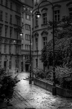 Alley at Night - Black and White exposure done in Vienna, Austria.
