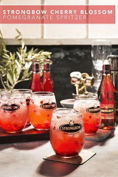 Kick back with a delicious Cherry Blossom Pomegranate Spritzer using Strongbow Cherry Blossom Hard Cider. Enjoy this refreshingly flavorful drink recipe after work or serve it when hosting a group of friends. Made with fresh pomegranate seeds and lime juice, this drink is definitely a crowd pleaser.