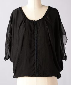 Take a look at this Moonless Night Whispering Pines Cape-Sleeve Top by Down East Basics on #zulily today!