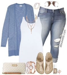 Plus Size Spring Cardigan Outfit - Plus Size Spring Casual Outfit - Plus Size Fashion for Women - curvyfashion Outfits Casual, Mode Outfits, Fashion Outfits, Dress Casual, Fashion Clothes, Casual Wear, Size 14 Outfits, Casual Mom Style, Easy Outfits