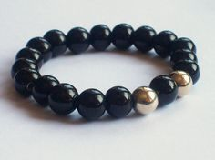 Men's Beaded Black and Gold Bracelet Men's by Michelleshandcrafted, £15.00