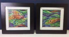 """Square Fish"" - original mixed media - watercolor and color pencil - signed"