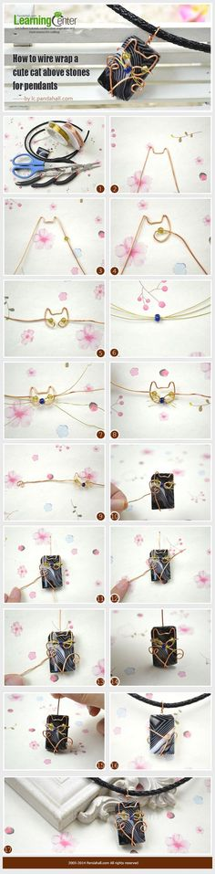 cool DIY Bijoux - How to Wire Wrap a Cute Cat above Stones for Pendants ~ Wire Jewelry Tutorials...