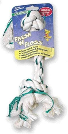 Fresh-N-Floss 2-Knot Bone. Dogs. Fresh 'N Floss Bones help your dog's dental hygiene. Contains fluoride and baking soda. Chewing helps clean teeth and gums, freshen breath, while the durable cotton strands act as floss. Medium.
