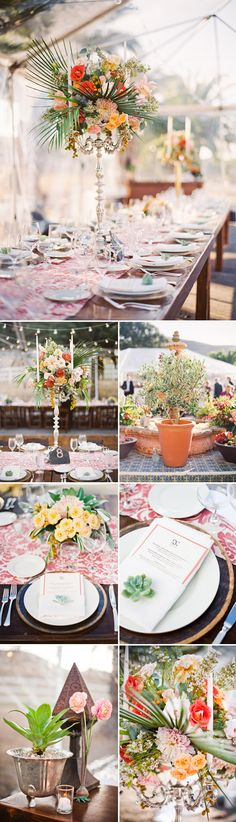An old-California, Spanish inspired wedding reception with terracotta, peach, blush and sagey blue-green wedding colors, and antique metallic accents. Photographed by Michelle Warren Photography