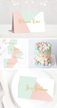 Pastel Baby Shower Place Cards, Printable Wedding Place Cards, Pink and Mint seating cards. No chaos on your baby shower or wedding! Let every guest find their seat with these pastel place cards. They are a beautiful table add-on for any party. Mint Baby Shower, Elegant Baby Shower, Simple Baby Shower, Baby Shower Invites For Girl, Baby Shower Parties, Star Baby Showers, Gold Baby Showers, Cumpleaños Diy, Place Card Template