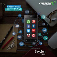 With 1.3 GHz Quad Core Processor in #Videocon Krypton V50GH, enjoy multitasking hassle free. Explore more - http://www.videoconmobiles.com/kryptonv50gh