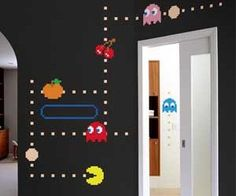 Pac Man Wall Stickers. In this PAC-MAN wall decal, Blinky, Pinky, Inky and Clyde quickly roam the maze while trying to catch PAC-MAN. Watch out for Inky, he's unpredictable and his random movements make him dangerous! All PAC-MAN wall decals are official NAMCO BANDAI Games Inc licensed products. $53.84