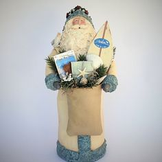 Folk Art Santa Claus Figurine Paper Mache Mixed Media Sculpture Avalon New Jersey Cream Beach Handmade Santa Figure Joan Matthews 201632 by SantasfrommyHeart on Etsy
