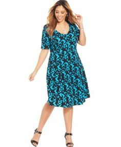 Ny Collection Plus Size Brushstroke-Print Flare Dress