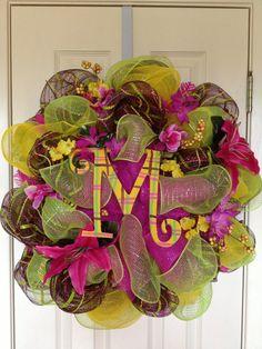 Tropical Spring/Summer Wreath by DazzlinDoorzbyKristi on Etsy, $65.00