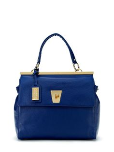 Irene Satchel by Badgley Mischka at Gilt - Cobalt blue structured top handle