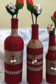 Wine Bottle Crafts – Make the Best Use of Your Wine Bottles – Drinks Paradise Glass Bottle Crafts, Wine Bottle Art, Diy Bottle, Vodka Bottle, Recycled Wine Bottles, Painted Wine Bottles, Christmas Wine Bottles, Wine Craft, Diy Holiday Gifts