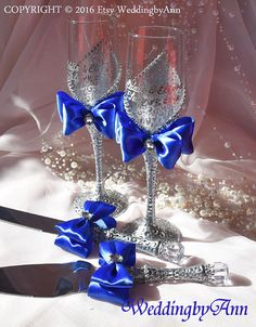 Royal Blue Wedding Glasses Wedding Champagne by WeddingbyAnn