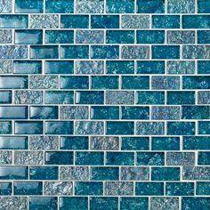 Ivy Hill Tile Marina Iridescent x Glass Mosaic Tile in Blue Stone Mosaic Tile, Mosaic Glass, Glass Subway Tile, Glass Tiles, Glass Brick, Glass Art, Glass Installation, Blue Tiles, Blue Mosaic