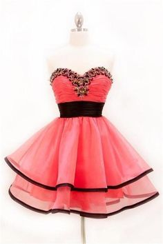 Cute Watermelon Short Sweetheart Homecoming Dresses,High Low Pretty Homecoming Dress For Teens,Homecoming Dress 2016