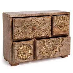 Mandala Mango Wooden Box with Gold Prints Mandala Mango Holz mit Golddrucken Furniture Wax, Sideboard Furniture, Small Furniture, Furniture Ideas, Furniture Design, Decorative Wooden Boxes, Wooden Box Designs, Sun Lounger Cushions, Parasols