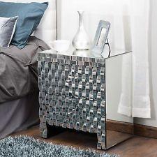 Modern Inspired Design 2-Drawer Mirrored Cabinet Nightstand