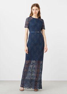 Φόρεμα μακρύ γκιπούρ | MANGO ΜΑΝΓΚΟ