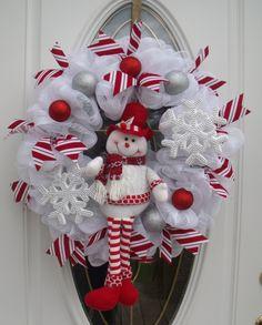 Snowman Mesh Wreath Christmas Wreath Door Decor Handmade  Winter Door Decor by MeshWreathsnMore on Etsy