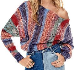 Horizon Pullover at Free People Clothing Boutique Knit Fashion, Fashion Outfits, Womens Fashion, Fashion Trends, Moda Crochet, Knit Crochet, Knooking, Cardigan Pattern, Crochet Clothes