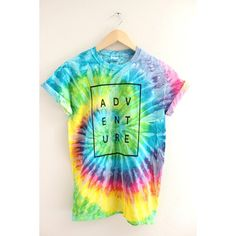 ADVENTURE Bright Rainbow Tie-Dye Graphic Unisex Tee ($20) ❤ liked on Polyvore featuring tops, t-shirts, graphic t shirts, tie die t shirts, tie dyed t shirts, tie dye tops and rainbow tie dye t shirt