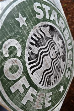 """Starbucks Coffee Sign - 11.25"""" x 11.25"""" ... distressed wood cafe sign. $30.99, via Etsy."""