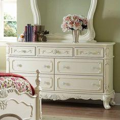 Trent Home Cinderella White Double Dresser in Ecru Finish