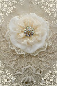 This listing is for one cream lace Gillyflower - handmade by Gilly and Jennelise. This flower is made with ivory silk, creamy net lace, white Cloth Flowers, Shabby Flowers, Lace Flowers, Felt Flowers, Fabric Flowers, Wedding Flowers, Fleurs Style Shabby Chic, Material Flowers, Fleurs Diy