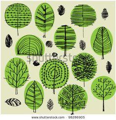 art sketching set of vector trees symbols by Irina_QQQ, via ShutterStock