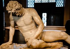 The Dying Gaul (Roman Sculpture from 1st Century) at National Gallery of Art Washington DC (On loan from Capitoline Museum Rome Italy)  This is first time this antiquity has left Italy since 1797 when Napoleon's army took it to Paris.  It remained at the Louvre until 1816 when it was returned to Rome.    www.nga.gov/content/ngaweb/exhibitions/2013/dying-gaul.html