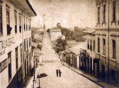 A imagem original da Ladeira de São João em 1887, de autoria de Militão Augusto de Azevedo e acervo da Biblioteca Mário de Andrade