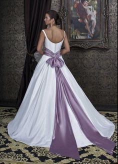 Shinning V Neck Beads With Long Light Purple Sash Off The Shoulder Wedding Dress