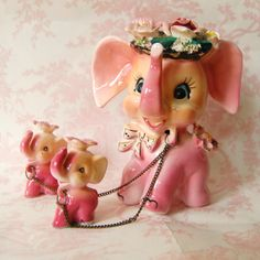 Vintage 1950s Mother Elephant and Babies Figurine