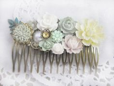 Sage Green Wedding Hair Comb Light Green Pale Ivory Cream Bridal Hair Accessories Bridesmaid Floral Flower Head Piece Shabby Chic Soft White by JewelsalemBridal on Etsy https://www.etsy.com/listing/177655929/sage-green-wedding-hair-comb-light-green