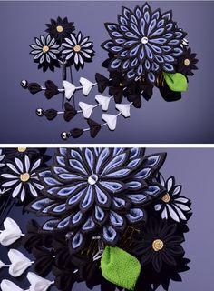 Making Fabric Flowers, Diy Flowers, Flowers In Hair, Ribbon Art, Ribbon Crafts, Happy Birthday Dad, Happy Birthdays, Kanzashi Flowers, Mandala