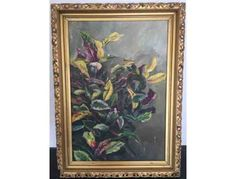 This antique oil painting of lovely floral branches was painted by Martha Jackson in 1905. It is 20